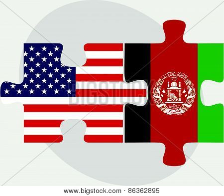 Usa And Afghanistan Flags In Puzzle