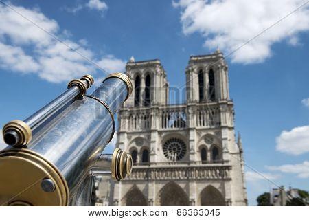 Tourist Binoculars At Notre Dame De Paris