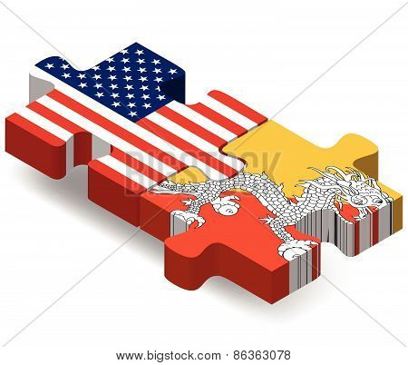 Usa And Bhutan Flags In Puzzle
