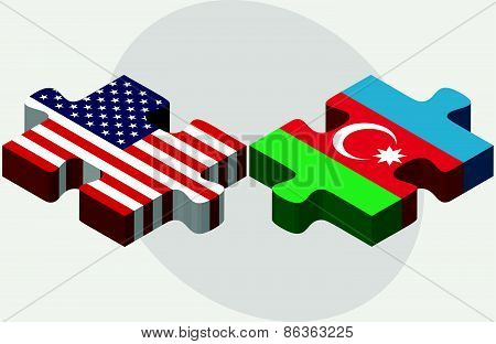 Usa And Azerbaijan Flags In Puzzle