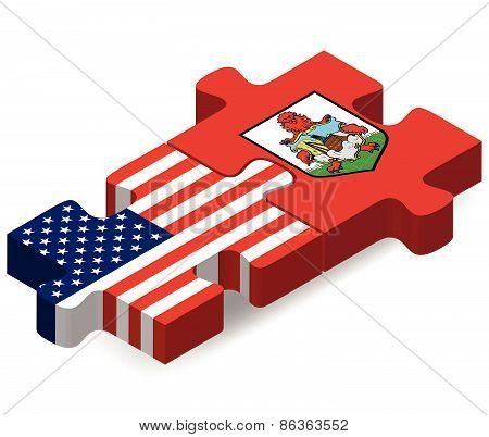 Usa And Bermuda Flags In Puzzle