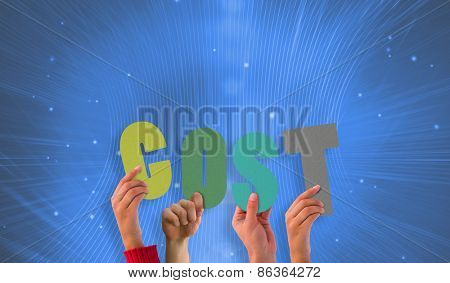 Hands holding up cost against futuristic pattern