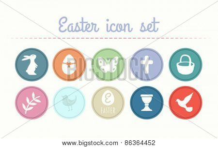 Digitally generated Easter icon set vector