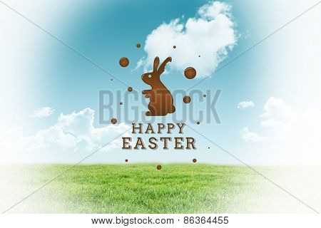 happy easter graphic against field and sky