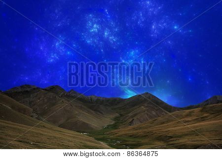 Fantastic star sky at night in mountain valley