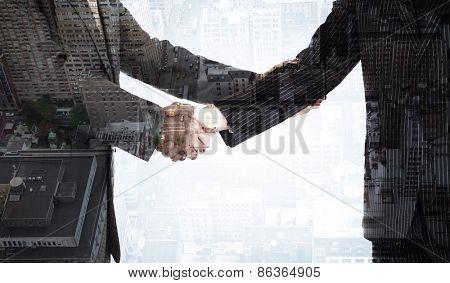 Handshake in agreement against new york