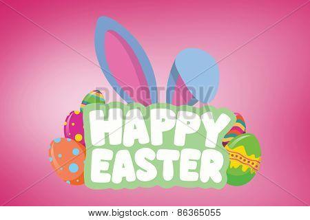 Happy Easter greeting against pink vignette
