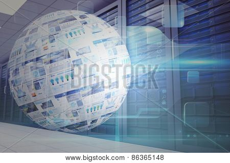 Screen sphere showing business advertisement against digitally generated server room with towers