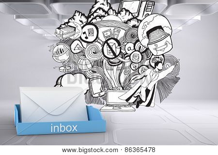 Blue inbox against drawn illustration on grey abstract background