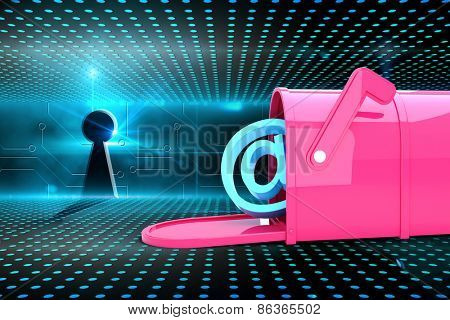 Red email post box against keyhole on technological glowing background