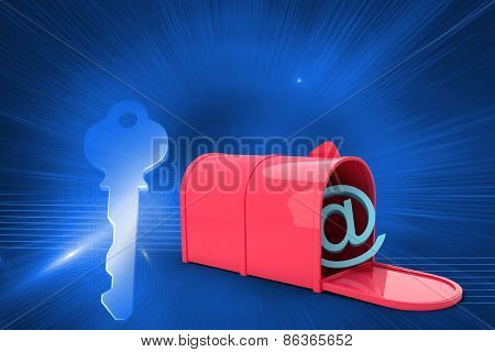 Red email post box against glowing key in left corner on blue background