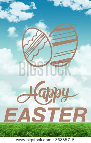 happy easter graphic against blue sky