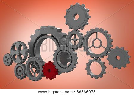 Cogs and wheels graphic against orange
