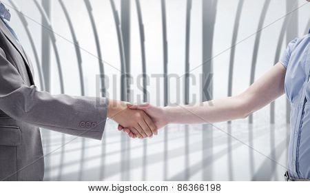 Handshake between two women against white room with large window overlooking city