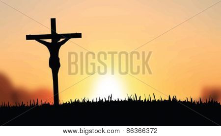Digitally generated Jesus on the cross vector