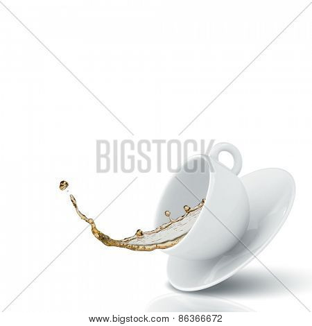 Close up image with falling cup of tea