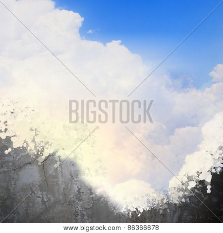 Background conceptual image with cement wall painted like sky
