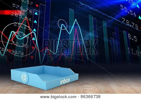Blue inbox against stocks and shares in room