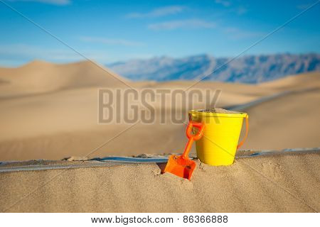 Close Plastic Bucket Shovel