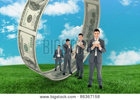 Multiple image of wealthy businessman against field and sky
