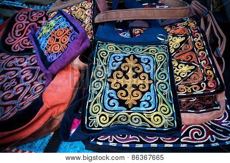 Kazakh Ethnic Bags In The Market