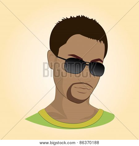 Vector Illustration Of A Man With Glasses.