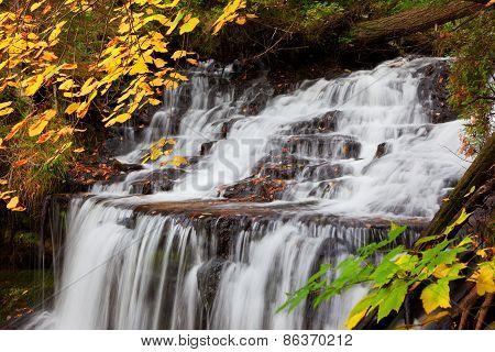 Wagner Falls In Autumn - Alger County Michigan
