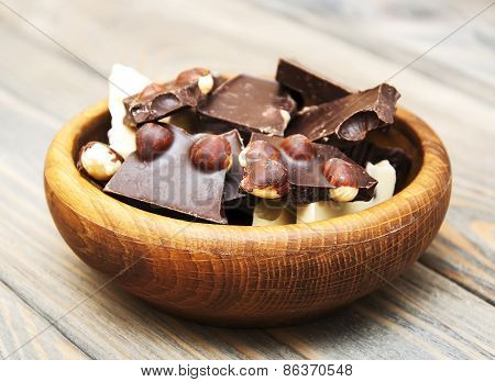 Dark And White Chocolate With Nuts