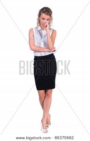 Young pensive woman. Caucasian businesswoman isolated on white background