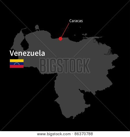 Detailed map of Venezuela and capital city Caracas with flag on black background