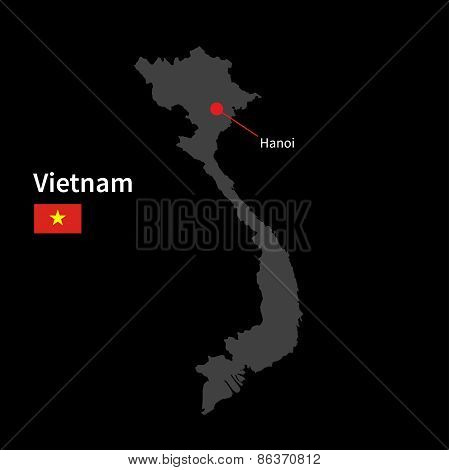 Detailed map of Vietnam and capital city Hanoi with flag on black background