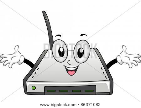 Mascot Illustration of a Wi-fi Router with its Arms Spread Wide
