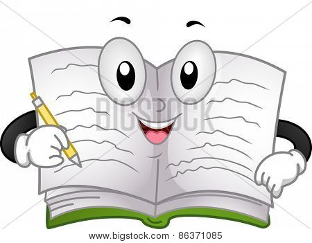 Mascot Illustration of a Book Writing on its Pages