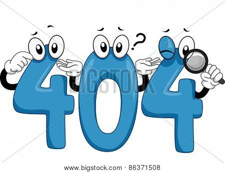Mascot Illustration of an Error 404 Notice for Websites