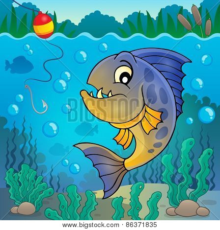 Piranha fish underwater theme 2 - eps10 vector illustration.