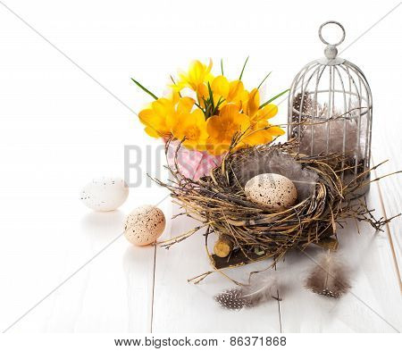 Easter Eggs Nest With Birdcage And Yellow Spring Crocus. On White Wooden Background