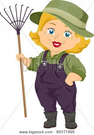 Illustration of a Senior Citizen Holding a Gardening Rake