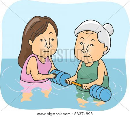Illustration of a Female Senior Citizen Undergoing Water Therapy