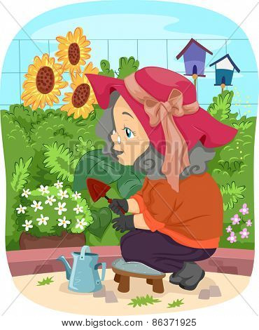 Illustration of a Senior Citizen Tending to Her Garden