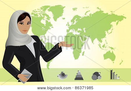 Business Woman On Background Of A Map And Business Charts, Vecto