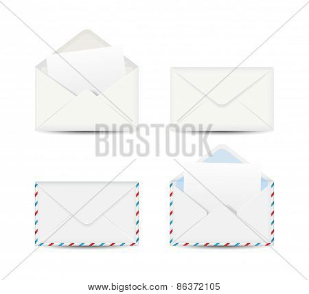 Set of four envelopes isolated on white background