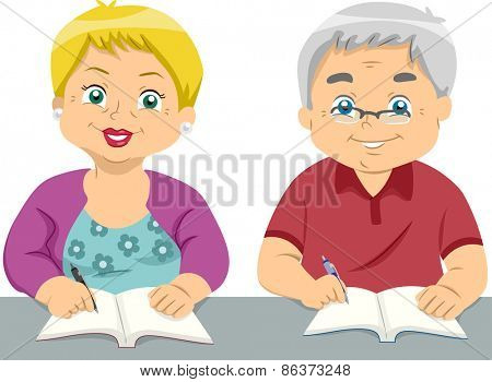 Illustration of a Pair of Elderly Students Writing on Their Notebooks