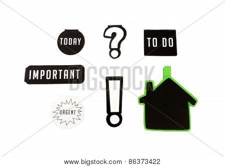 Isolated Six Magnets With Different Keywords, Important, To Do, Today And Urgent Sign On Wooden Tabl