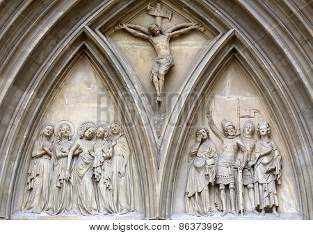 VIENNA, AUSTRIA - OCTOBER 11: Portal of Minoriten kirche in Vienna, Austria on October 11, 2014.