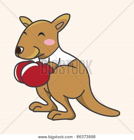 Animal Kangaroo Doing Sports Cartoon Theme Elements