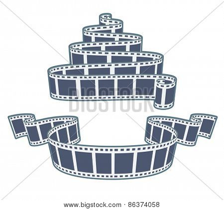 Ciinema video film tape. Eps10 vector illustration. Isolated on white background
