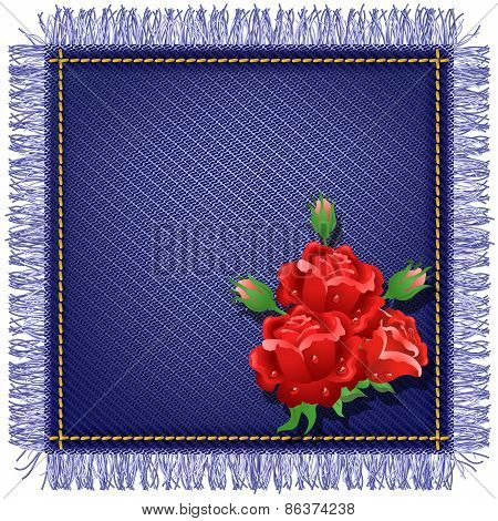 Napkin From Jeans Fabric And Red Roses