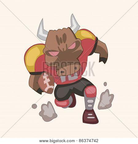 Animal Bull Doing Sports Cartoon Theme Elements