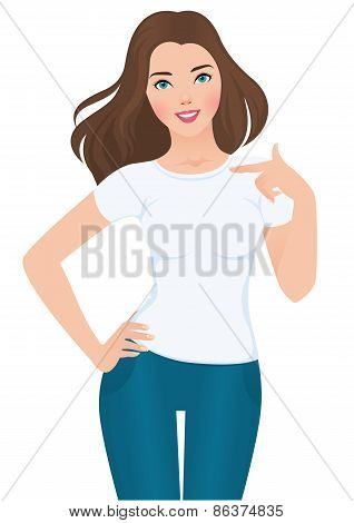 Girl In A White  Blank T-shirt On Isolated White Background