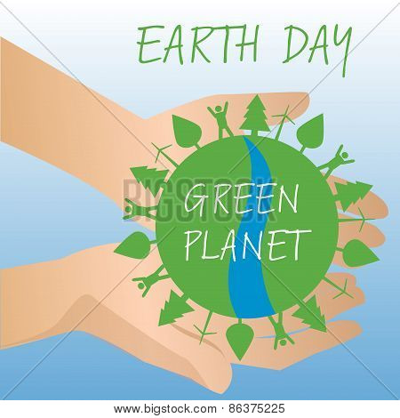 Human hands holding Earth, save earth concept